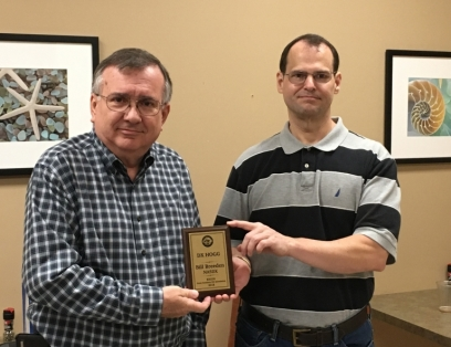 Bill, NA5DX receiving the DX Hogg plaque for 2018.